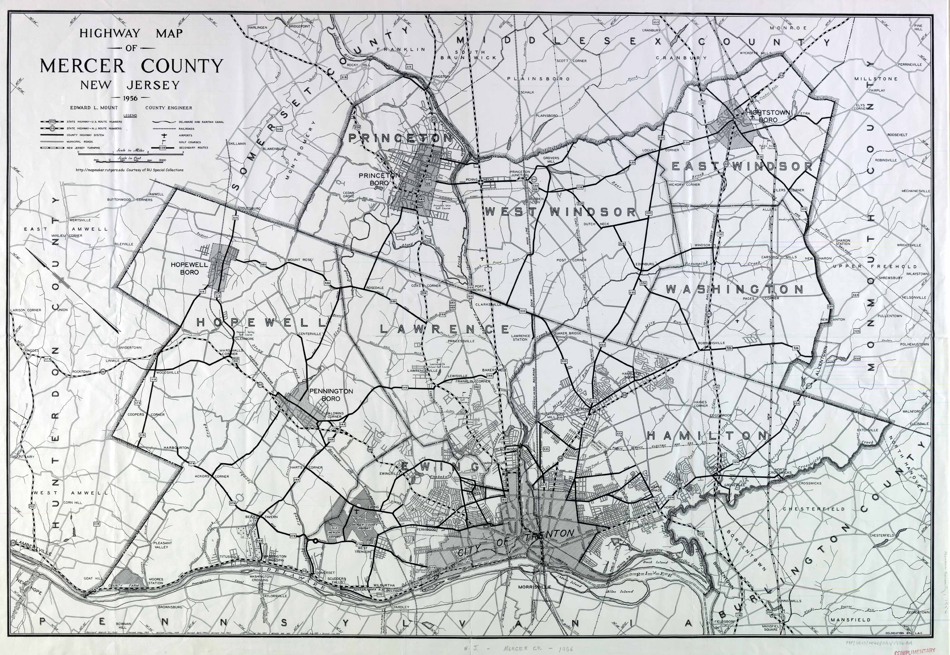Maps  Mercer County 1956