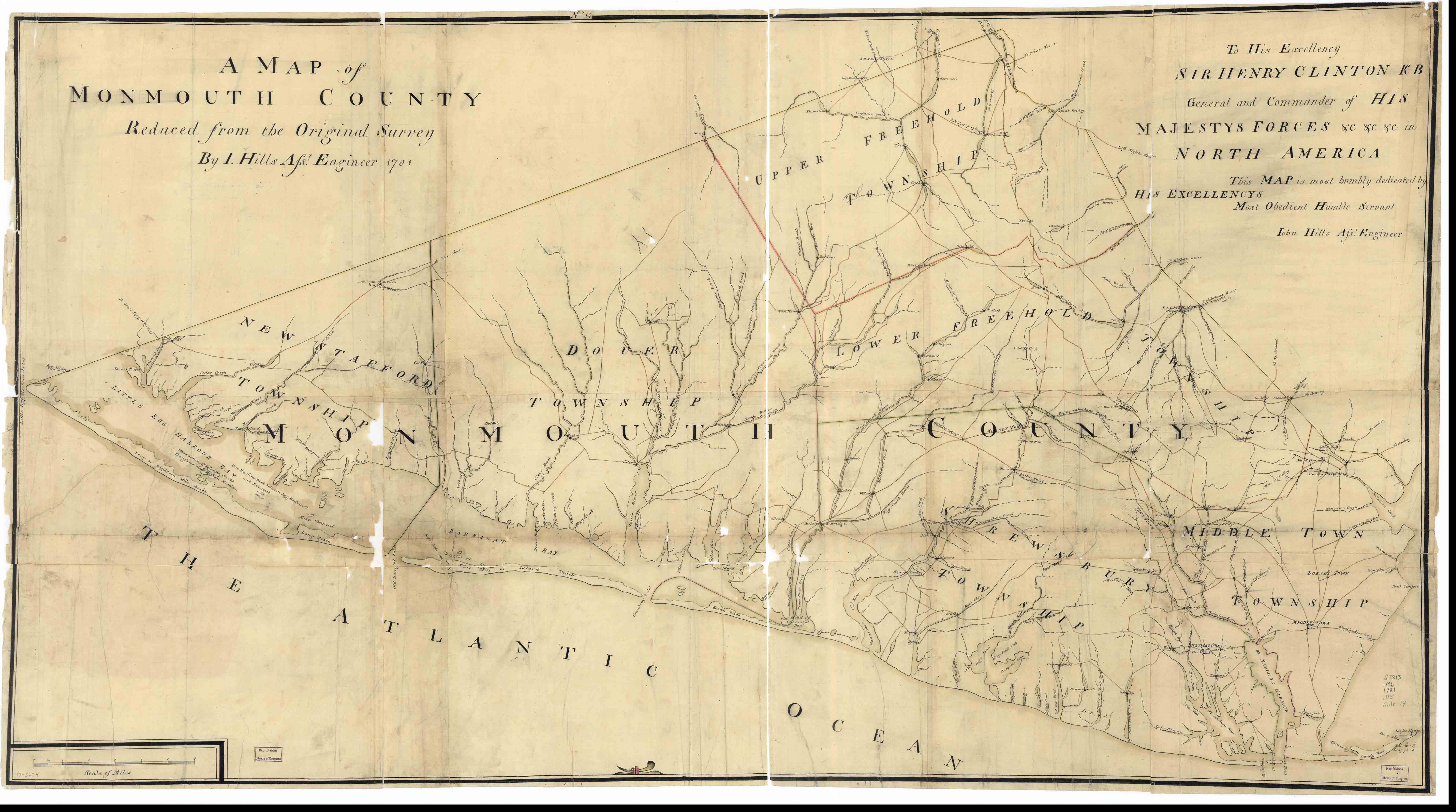 Revolutionary war era maps john hills map of monmouth county 1781 gumiabroncs Images